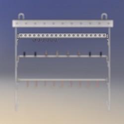 Barre d'accrochage en U avec manchons, longueur 100 cm, espacement accrochage 50 mm, crochets diam 1 à 6