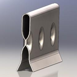 Barre d'accrochage en U pour assemblage direct, longueur 100 cm, espacement accrochage 50 mm, crochets de 1 à 6