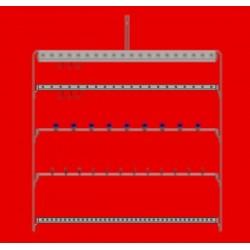 Barre d'accrochage en U avec manchons, longueur 100 cm, espacement accrochage 25 mm, crochet diam 1 à 3