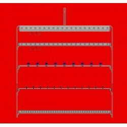 Barre porte embouts diam 2 à 4 en quinquonce 2 faces, 18 plots avec pas de 50 mm